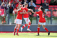 Jessica Fishlock of Wales (c) celebrates after scoring her teams 2nd goal in the match where she wins her 100th cap and becomes the only Welsh senior international, men or women's to reach the 100th milestone becoming the most capped Welsh international. Wales women v Northern Ireland women, friendly international football in Ystrad Mynach, near Caerphilly, South Wales on Wednesday 5th April 2017.<br /> pic by Andrew Orchard, Andrew Orchard sports photography.