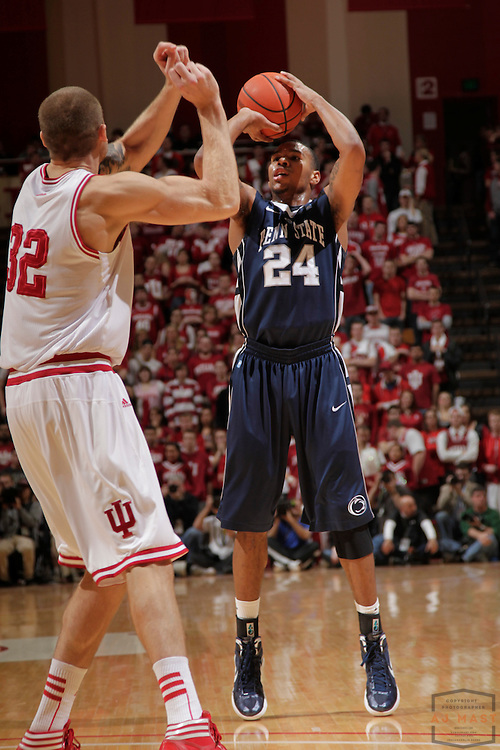 22 January 2012: Penn State Nittany Lions guard Cammeron Woodyard (24) as the Indiana Hoosiers played the Penn State Nittnay Lions in a college basketball game in Bloomington, Ind.
