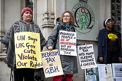 © Licensed to London News Pictures. 09/11/2016. London, UK. Demonstrators outside the Supreme Court, London, after appeal an appeal was won against the bedroom tax. The bedroom tax was unfairly restricting their housing subsidies. Photo credit : Tom Nicholson/LNP