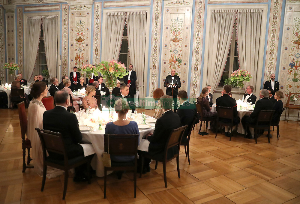 King Harald V of Norway makes a speech at a dinner with the Duke and Duchess of Cambridge at the Royal Palace, Oslo, Norway at the end of the third day of their tour of Scandinavia.