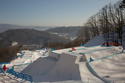The boardercross course at the Pyeongchang 2018 Winter Olympics on February 15th 2018, at the Phoenix Snow Park in Pyeongchang-gun, South Korea.