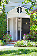 Front Entry Way Door in Black Semi-Gloss Paint with Gold Hardware