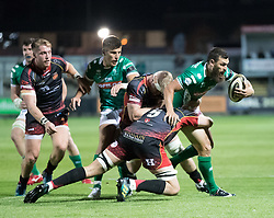 Benetton Treviso's Jayden Hayward is tackled by Dragons' Cory Hill<br /> <br /> Photographer Simon King/Replay Images<br /> <br /> Guinness PRO14 Round 1 - Dragons v Benetton Treviso - Saturday 1st September 2018 - Rodney Parade - Newport<br /> <br /> World Copyright © Replay Images . All rights reserved. info@replayimages.co.uk - http://replayimages.co.uk