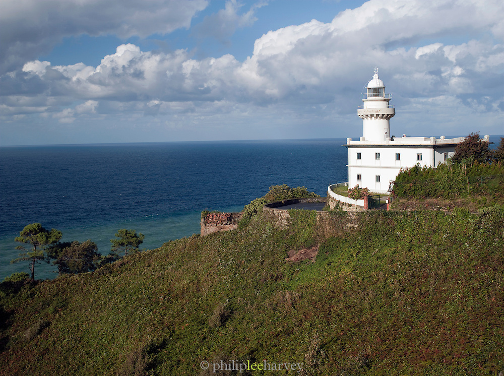 The Monte Igueldo Lighthouse, built on a hilltop above San Sebastian, Spain