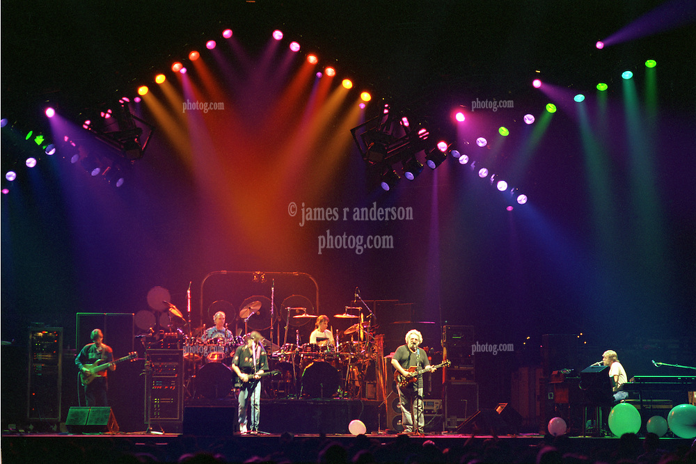 """The Grateful Dead performing """"Standing on the Moon"""" at the Nassau Coliseum, Uniondale NY, 30 March 1990. Wide Lighting Look Image Capture."""