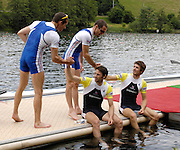 Lucerne, SWITZERLAND.  GBR LM2X, sitting left, Mark HUNTER and partner,  Zac PURCHASE, are congratulated by the FRA LM2X, after GB they win, the Lightweight men's double Scull at the 2008 FISA World Cup Regatta, Round 2.  Lake Rotsee, on Sunday, 01/06/2008.  [Mandatory Credit:  Peter Spurrier/Intersport Images].Lucerne International Regatta. Rowing Course, Lake Rottsee, Lucerne, SWITZERLAND.