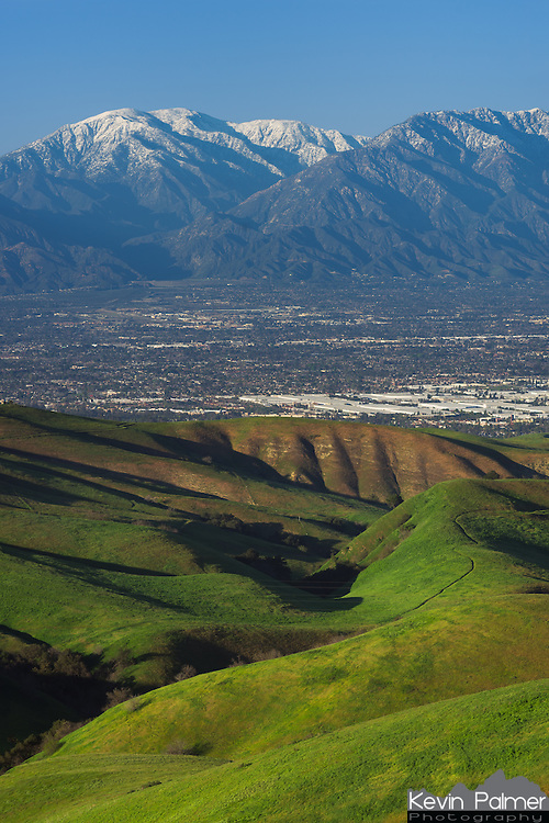San Juan Hill in the Chino Hills provided a great view of the valley with the snow capped San Gabriel Mountains in the distance.<br /> <br /> Date Taken: February 24, 2015