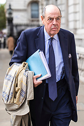 """© Licensed to London News Pictures. 03/09/2019. London, UK. Sir Nicholas Soames, believed to be one of the Tory """"rebels"""" willing to vote against the government, arrives at the Cabinet Office. MPs return from recess today and may vote on legislation to block a no deal exit from the European Union. Photo credit: Rob Pinney/LNP"""