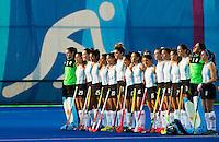 RIO DE JANEIRO  (Brazilië) -  Argentinië tijdens de volksliederen de poulewedstrijd hockey dames Argentinie-USA  tijdens de Olympische Spelen <br /> Copyright Koen Suyk