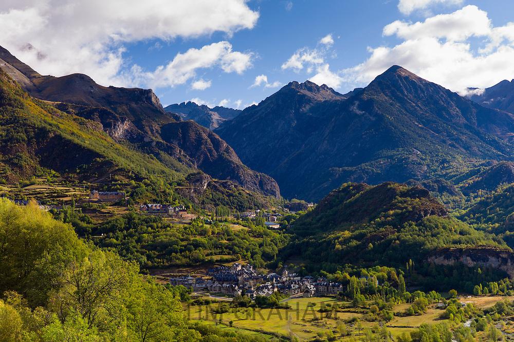 Ski resorts El Pueyo de Jaca and (beyond) Panticosa in landscape of Valle de Tena in the Pyrenees in Aragon, Northern Spain