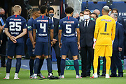 French President Emmanuel Macron meets the players of PSG before the French Cup final football match between Paris Saint-Germain (PSG) and Saint-Etienne (ASSE) on Friday 24, 2020 at the Stade de France in Saint-Denis, near Paris, France - Photo Juan Soliz / ProSportsImages / DPPI
