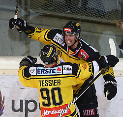 21.10.2016, Albert Schultz Halle, Wien, AUT, EBEL, UPC Vienna Capitals vs Dornbirner Eishockey Club, 12. Runde, im Bild Torjubel Kelsey Tessier (UPC Vienna Capitals) und Riley Holzapfel (UPC Vienna Capitals) // during the Erste Bank Icehockey League 12th Round match between UPC Vienna Capitals and Dornbirner Eishockey Club at the Albert Schultz Ice Arena, Vienna, Austria on 2016/10/21. EXPA Pictures © 2016, PhotoCredit: EXPA/ Thomas Haumer