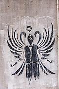 Graffiti art by Gantz 5 on a wall in Macau.