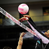 111612  Adron Gardner<br /> <br /> Navajo Prep Eagle Danielle Coleman (2) rejects a Santa Rosa Lion hit in the state volleyball quarterfinals at the Santa Ana Star Center in Rio Rancho Friday.
