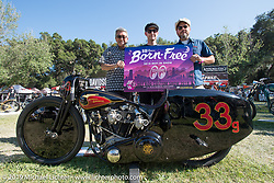 Shige Suganuma of Mooneyes with Justin Walls for his Petrali Tribute 1948 Harley UL Harley-Davidson and bike owner Bobby Green after receiving their Best of Show award (and trip to Mooneyes Japan) at the Born Free chopper show. Silverado, CA. USA. Sunday June 24, 2018. Photography ©2018 Michael Lichter.
