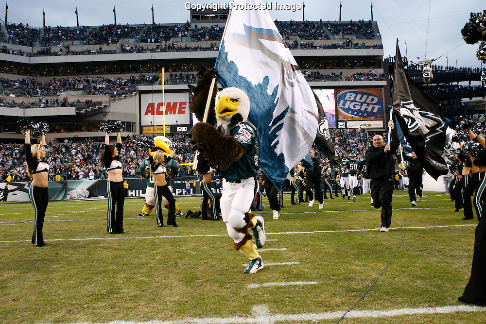 """28 Dec 2008: Philadelphia Eagles mascot """"Swoop""""leads the team onto the field before the game against the Dallas Cowboys on December 28th, 2008. The Philadelphia Eagles won 44-6 at Lincoln Financial Field in Philadelphia, Pennsylvania."""