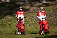 HILVERSUM - August Host (Den) and Sebastian Friedichsen (Den) . Denmark vs Sweden (0-3) Quarter finals. ELTK Golf 2020 The Dutch Golf Federatio.n (NGF), The European Golf Federation (EGA) and the Hilversumsche Golf Club will organize Team European Championships for men. COPYRIGHT KOEN SUYK