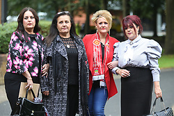 © Licensed to London News Pictures. 09/08/2017. Warrington, UK. Hillsborough family members (Left to right) Donna miller, michelle miller, Louise brookes, christine burke arrive at Warrington magistrates court. Norman Bettison, Donald Denton, Peter Metcalf, Alan Foster & Graham Mackrell are appearing at Warrington Magistrates Court today to face charges relating to the Hillsborough tragedy where 96 people died in 1989. Photo credit: Andrew McCaren/LNP