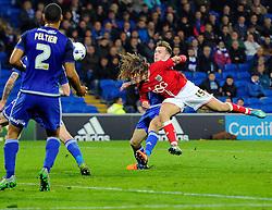 Luke Freeman of Bristol City heads towards goal  - Mandatory byline: Joe Meredith/JMP - 07966 386802 - 26/10/2015 - FOOTBALL - Cardiff City Stadium - Cardiff, Wales - Cardiff City v Bristol City - Sky Bet Championship