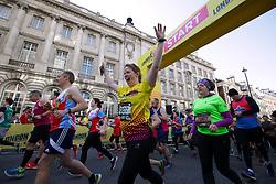 Competitiors cross the start line during the 2019 London Landmarks Half Marathon.