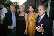 Martin Amis, Tina Brown, Kathy Lette and Harry Evans, Launch of Tina Brown's book 'The Diana Chronicles' hosted by Reuters. Serpentine Gallery. 18 June 2007.  -DO NOT ARCHIVE-© Copyright Photograph by Dafydd Jones. 248 Clapham Rd. London SW9 0PZ. Tel 0207 820 0771. www.dafjones.com.