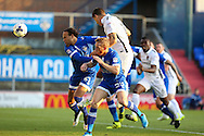Alex Revell of Northampton Town has a chance on goal from a header during the EFL Sky Bet League 1 match between Oldham Athletic and Northampton Town at Boundary Park, Oldham, England on 16 August 2016. Photo by Simon Brady.