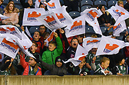 Young fans at the Guinness Pro 14 2018_19 match between Edinburgh Rugby and Benetton Treviso at Murrayfield Stadium, Edinburgh, Scotland on 28 September 2018.