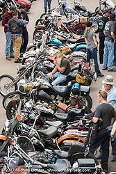 Tony Greeson at Mondo's Denvers Choppers vintage bike show at the Iron Horse Saloon during the annual Sturgis Black Hills Motorcycle Rally. Sturgis, SD. USA. Saturday August 5, 2017. Photography ©2017 Michael Lichter.