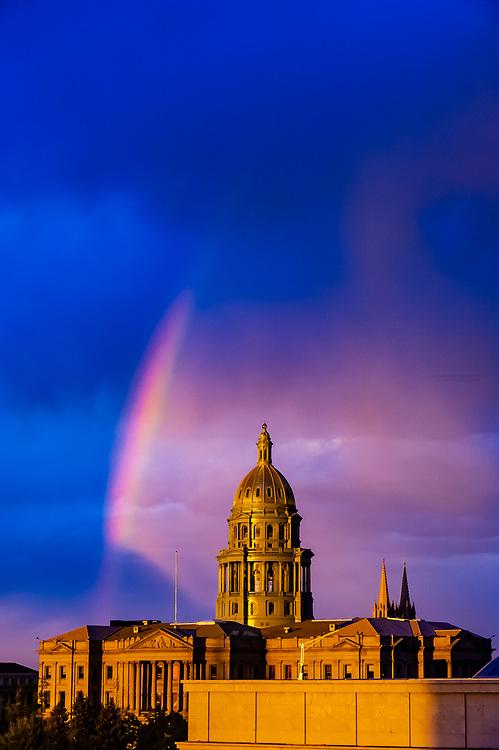 Colorado State Capitol Building with rainbow above, Downtown Denver, Colorado USA.