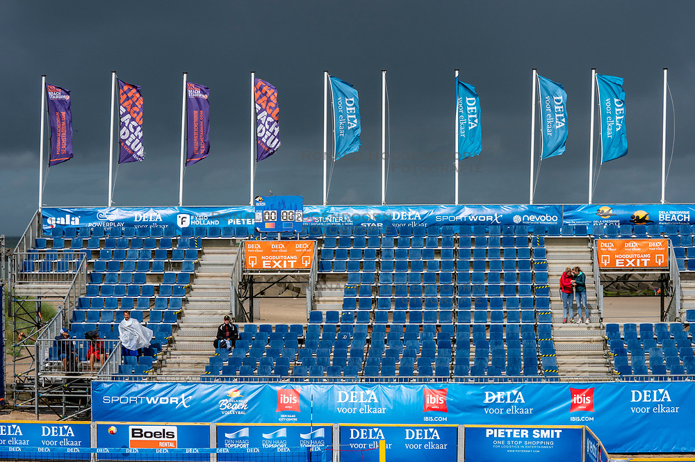 Empty tribune and very windy during the DELA NK Beach volleyball for men and women will be played in The Hague Beach Stadium on the beach of Scheveningen on 22 July 2020 in Zaandam.