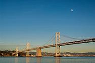 Moon over the San Francisco - Oakland Bay Bridge, San Francisco, California