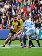 Australia second-row Lukhan Lealaiaulolo-Tui runs at the England defence during the World Rugby U20 Championship  match England U20 -V- Australia U20 at The AJ Bell Stadium, Salford, Greater Manchester, England on June  15  2016, (Steve Flynn/Image of Sport)