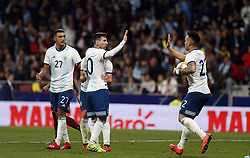 March 22, 2019 - Madrid, Madrid, Spain - Argentina's Lautaro Martinez and Lionel Messi are seen celebrating after scoring a goal during the International Friendly match between Argentina and Venezuela at the wanda metropolitano stadium in Madrid. (Credit Image: © Manu Reino/SOPA Images via ZUMA Wire)