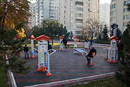 Kayserians exercising in the early morning in Alparslan Park, using equipment funded by the city's council.
