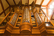A large wooden church organ is slowly assembled (over several months) at the workshop of master piper organ builder Paul Fritts in Tacoma, Washington.