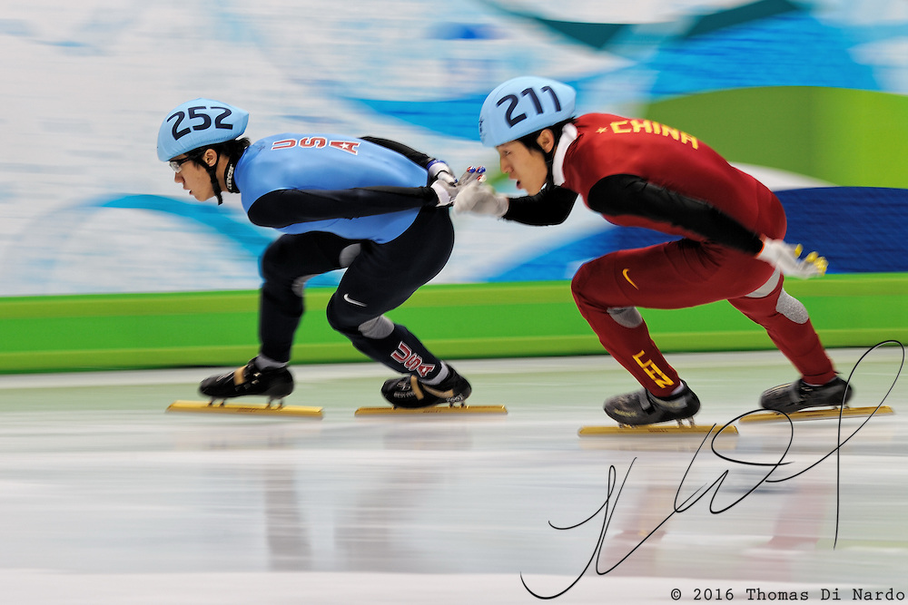 February 13, 2009 - 2010 Winter Olympics - Vancouver, Canada - J.R. Celski competes in 1500m Short Track Speed Skating preliminary competition held at the Pacific Coliseum during the 2010 Winter Olympic Games.