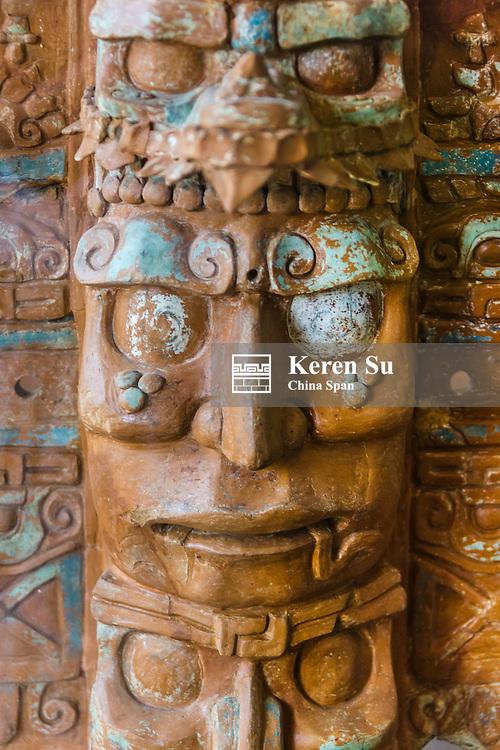 Carved figure at Dzibilchaltun, Mayan ruins near Merida, Yucatan State, Mexico