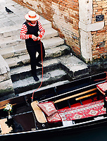 One of the growing number of female gondoliers in Venice, Italy.