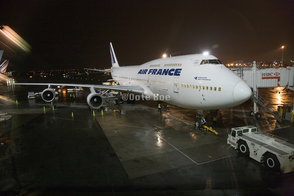 Air France Jumbo Jet Airplane parked at the gate
