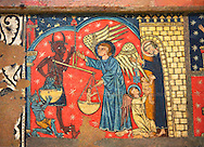 Gothic altar panel depicting St Michael weighing the souls at the Last Judgement. End of the 13th century, tempera on a spruce wooden panel  from  The Church of Sant Miguel de Soriguerola, Cerdanya, Huesca, Spain. Inv MNAC 43901. National Museum of Catalan Art (MNAC), Barcelona, Spain .<br /> <br /> If you prefer you can also buy from our ALAMY PHOTO LIBRARY  Collection visit : https://www.alamy.com/portfolio/paul-williams-funkystock/romanesque-art-antiquities.html<br /> Type -     MNAC     - into the LOWER SEARCH WITHIN GALLERY box. Refine search by adding background colour, place, subject etc<br /> <br /> Visit our ROMANESQUE ART PHOTO COLLECTION for more   photos  to download or buy as prints https://funkystock.photoshelter.com/gallery-collection/Medieval-Romanesque-Art-Antiquities-Historic-Sites-Pictures-Images-of/C0000uYGQT94tY_Y