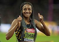 Athletics - 2017 IAAF London World Athletics Championships - Day Three, Evening Session<br /> <br /> Womens Heptathlon 800m<br /> <br /> Nafissatou Thiem (Belguim) celebrates winning the Silver medal  at the London Stadium<br /> <br /> COLORSPORT/DANIEL BEARHAM