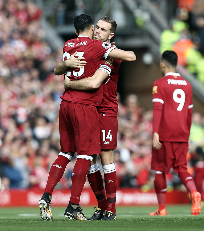 Liverpool's Emre Can and Jordan Henderson embrace ahead of kick off<br /> <br /> Photographer Rich Linley/CameraSport<br /> <br /> The Premier League - Liverpool v Manchester United - Saturday 14th October 2017 - Anfield - Liverpool<br /> <br /> World Copyright © 2017 CameraSport. All rights reserved. 43 Linden Ave. Countesthorpe. Leicester. England. LE8 5PG - Tel: +44 (0) 116 277 4147 - admin@camerasport.com - www.camerasport.com