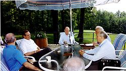 Camp David, Maryland - June 2, 1990 -- United States President George H.W. Bush meets with Union of Soviet Socialist Republics (USSR) President Mikhail Gorbachev and thei key foreign policy advisors at Aspen Lodge, Camp David, Maryland on June 2, 1990. From left: United States Secretary of State James A. Baker III, President Bush, United States National Security Advisor Brent Scowcroft, Union of Soviet Socialist Republics Foreign Minister Eduard Shevardnaze, and President Gorbachev.Photo by White House / CNP/ABACAPRESS.COM