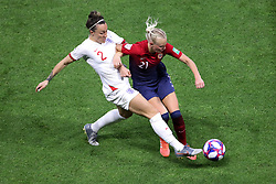 England's Lucy Bronze (left) and Norway's Karina Saevik battle for the ball during the FIFA Women's World Cup, Quarter Final, at Stade Oceane, Le Havre, France.