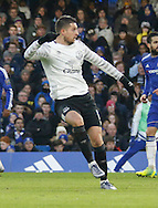 Everton midfielder Kevin Mirallas watches his goal hit the back of the net to make it two for Everton during the Barclays Premier League match between Chelsea and Everton at Stamford Bridge, London, England on 16 January 2016. Photo by Andy Walter.