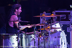Xavier Muriel exudes his boundless energy on the drums as Buckcherry performs at the Buffalo Chip during the annual Sturgis Black Hills Motorcycle Rally.  SD, USA. Friday, August 12, 2016.  Photography ©2016 Michael Lichter.