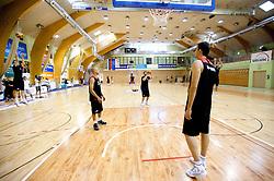 Nebojsa Joksimovic, Miha Zupan and Mirza Begic during practice session of Slovenian National Basketball team during training camp for Eurobasket Lithuania 2011, on July 12, 2011, in Arena Vitranc, Kranjska Gora, Slovenia. (Photo by Vid Ponikvar / Sportida)