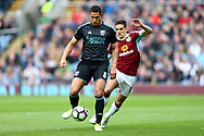 Jake Livermore of West Bromwich Albion passes under pressure from Ashley Westwood of Burnley. Premier League match, Burnley v West Bromwich Albion at Turf Moor in Burnley , Lancs on Saturday 6th May 2017.<br /> pic by Chris Stading, Andrew Orchard sports photography.