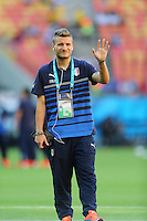 Ciro Immobile of Italy waves as he looks at the pitch before the game