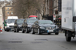 © Licensed to London News Pictures. 07/03/2017. London, UK. Chancellor of the Exchequer Philip Hammond's car waits in traffic on Whitehall as he heads to Parliament to deliver his 2017 Spring Budget. Photo credit: Peter Macdiarmid/LNP
